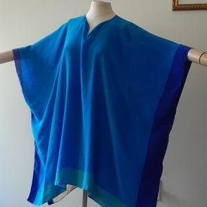 Issa London 100% Silk Color Block Caftan Poncho